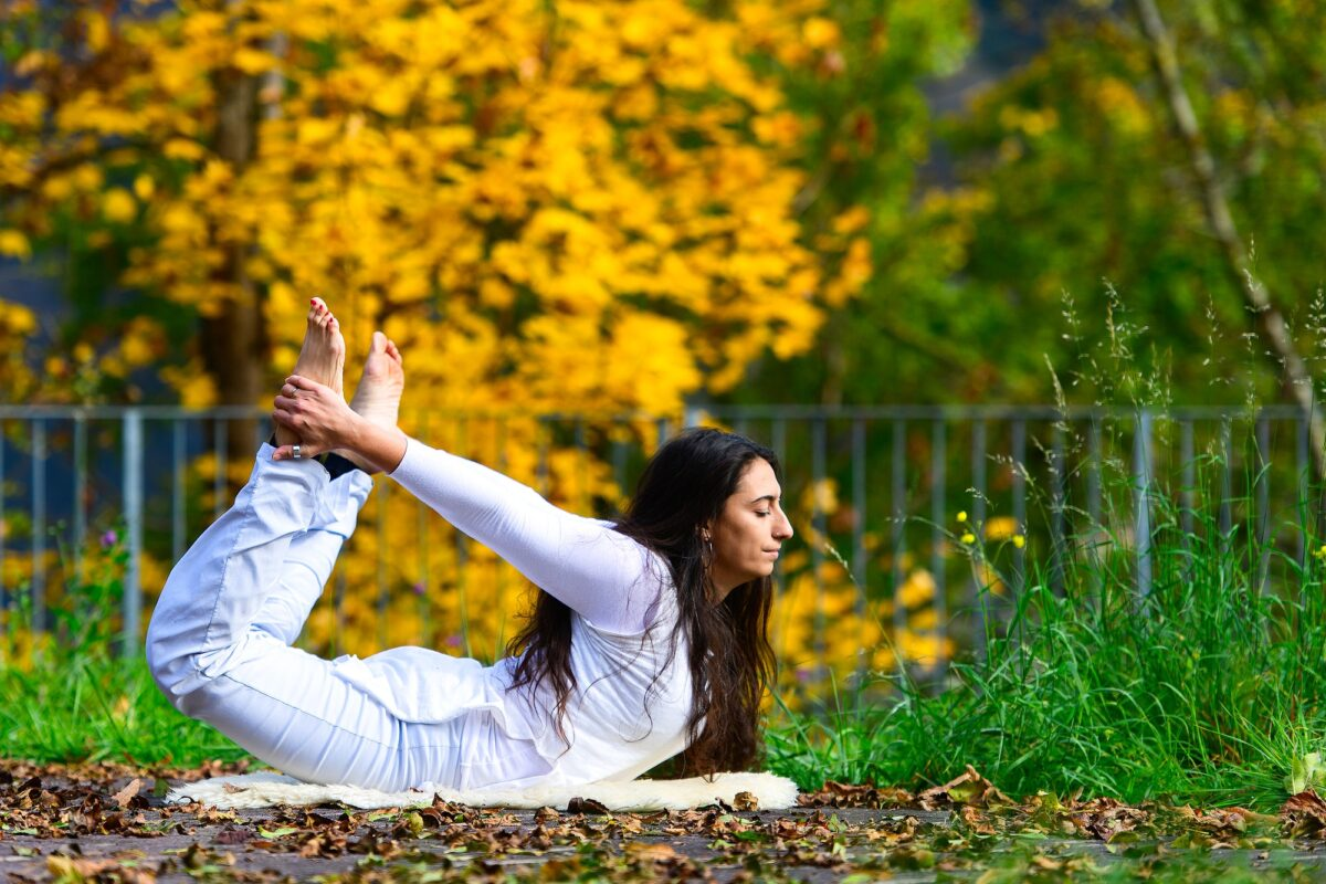 Yoga position by a young woman